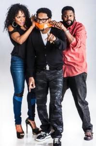 THE D.L. HUGHLEY SHOW Debuts On Radio Today (left to right Jasmine Sanders, D.L. Hughley, Steve Wilson). (PRNewsFoto/REACH Media, Inc., Rance Elgin)