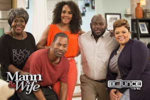 David Mann and Tamela Mann (Right) star in the new Bounce TV Original Series Mann & Wife. New episodes of Mann & Wife premiere Tuesday nights at 9pm ET/8 CT starting April 7. Mann & Wife co-stars JoMarie Payton, Tony Rock and Vivica A. Fox. Bounce TV is the nation's first-ever and fastest-growing broadcast television network designed for African-American audiences.  Bounce TV airs on the digital signals of local television stations. (PRNewsFoto/Bounce TV)