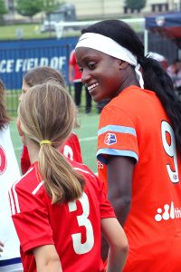 Chioma Ubogagu, a member of the visiting Houston Dash, is actually an example of the pro-level talent available in DFW. Ubogagu graduated from Coppell High School in 2010 and went on to make 89 appearances in four years for Stanford before entering the 2015 NWSL draft. Melissa Henderson, who scored the first goal for the Dash against FC Dallas, is a native of Garland. (Photo: David Wilfong)