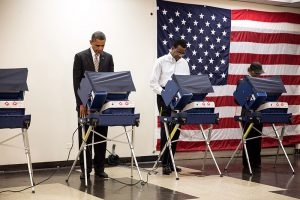 United States President Barack Obama casts his ballot during early voting in the 2012 U.S. election photo: whitehouse.gov/Pete Souza