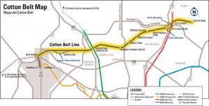 Proposed route for DART's Cotton Belt Rail Line (Image: DART)